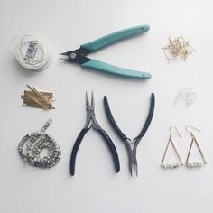 Every little piece and tool it takes to make the #jasper triangle earrings available in my #Etsy shop neatly organized into this little square. #FlatLay #thingsorganizedneatly #knolling by madmademetals