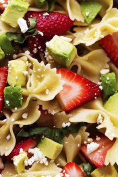 Delicious ripe strawberries come together with creamy avocados, basil, and feta cheese making one unforgettable salad!  The pasta adds a new and delicious texture and makes this salad perfect and unique! You guys.  Strawberries are looking pretty amazing right now!  I have been stocking up from Costco because I love them so much.  I even …