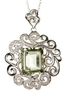 Green Amethyst (1.64 ctw) & White Diamond (0.25 ctw) Pendant Necklace by Savvy Cie on @HauteLook