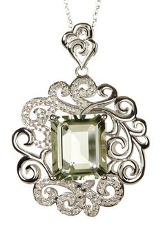 Green Amethyst (1.64 ctw) & White Diamond (0.25 ctw) Pendant Necklace by Savvy Cie on @HauteLook