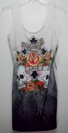 Ed Hardy Juniors Medium White Gray Graphic Skull Crew Neck Tank Top Dress (M) #EdHardy #Tank #Casual