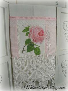 Guest tea towel Victorian single pink rose