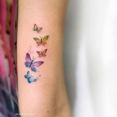 Butterflies by Mary Ellen butterfly tattoo Butterflies by Mary Ellen - Tattoo, Tattoo ideas, Tattoo shops, Tattoo actor, Tattoo art Watercolor Butterfly Tattoo, Tiny Butterfly Tattoo, Butterfly Tattoo Meaning, Mini Tattoos, Small Tattoos, Baby Tattoos, Finger Tattoos, Body Art Tattoos, New Tattoos