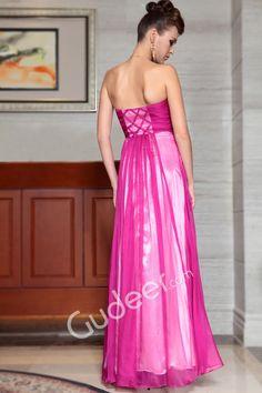 Fuschia Chiffon Strapless Beaded Curved Neckline Long Graduation Dress