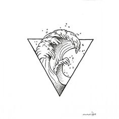 Waves with triangle! – Bảo Nguyễn Waves with triangle! Waves with triangle! Dreieckiges Tattoos, Mini Tattoos, Body Art Tattoos, Small Tattoos, Tattoos For Guys, Tatoos, Tattoo Studio, Tattoo Sketches, Tattoo Drawings