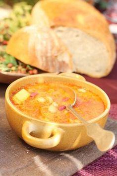 Kopaničářská zelňačka Czech Recipes, Ethnic Recipes, Cheeseburger Chowder, Thai Red Curry, Ham, Cantaloupe, Food And Drink, Tasty, Baking