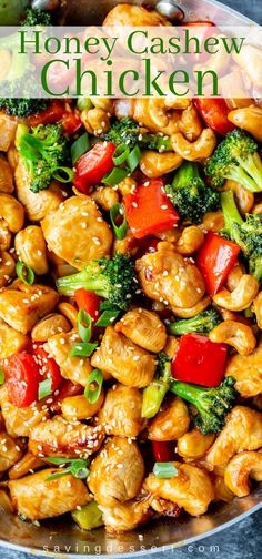 Honey Cashew Chicken - You'll love the sweet heat of this Asian inspired stir-fry loaded with tender chunks of chicken, red bell pepper, onions & tender broccoli. dinner stir fry Honey Cashew Chicken - Saving Room for Dessert Cashew Recipes, Healthy Dinner Recipes, Asian Recipes, Cooking Recipes, Stir Fry Dinner Recipes, Asian Chicken Recipes, Asian Dinner Recipes, Honey Recipes, Chicken Meals