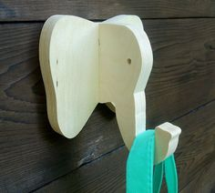 Playful animal wall hook: plywood elephant head wall by lxrns