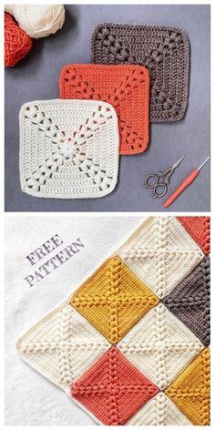 Farmhouse Granny Square Blanket Free Crochet Pattern + Video - Knitting is so . - Farmhouse Granny Square Blanket Free Crochet Pattern + Video – Knitting is as easy as 3 Kni - Motifs Granny Square, Crochet Blocks, Granny Square Crochet Pattern, Granny Square Projects, Free Crochet Square, Granny Square Tutorial, Crochet Granny Square Beginner, Crochet Crafts, Knit Crochet