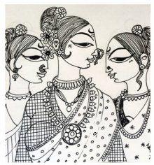Adorned Drawing by artist Varsha Kharatamal Madhubani Art, Madhubani Painting, Indian Contemporary Art, Saree Painting, Indian Folk Art, Indian Art Paintings, Art Drawings Sketches, Zentangle Drawings, Tribal Art