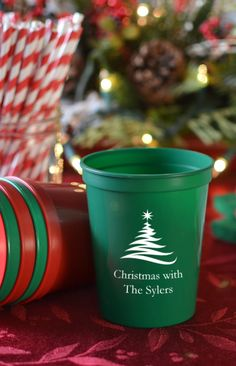 16 Ounce plastic stadium cups personalized with a holiday design and up to 4 lines of custom print on the front and back make a Christmas party decoration guests will love and can take home with them after the party. For something unique, fill each cup with holiday treats and favors, Perfect for a family or company Christmas party, these cups can be ordered at http://myweddingreceptionideas.com/16_oz_personalized_holiday_stadium_cups.asp