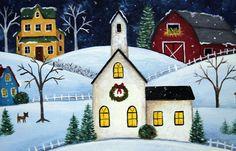 Christmas Winter Folk Art Hand Painted Primitive by Ravensbend, $32.00