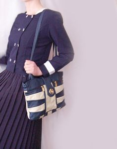 Vintage marine blue white striped faux leather handbag by semivint
