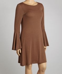 Take a look at this Brown Long-Sleeve Tunic - Plus by Poliana Plus on #zulily today!