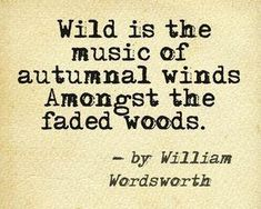 """""""Wild is the Music to the Autumnal Winds Amongst the Faded Woods ~ William Wordsworth Writers And Poets, Low Key, Lexa Y Clarke, John Piper, Nature Quotes, Fall Quotes, Time Quotes, Poetry Quotes, Wisdom Quotes"""