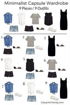 Pieces / 9 Outfits Minimalist Capsule Wardrobe 9 pieces 9 outfits - sub in navy instead of black for me.Minimalist Capsule Wardrobe 9 pieces 9 outfits - sub in navy instead of black for me. Mode Outfits, Fashion Outfits, Womens Fashion, Dress Fashion, Navy Outfits, Classy Outfits, Fashion Games, Packing Outfits, Traveling Outfits