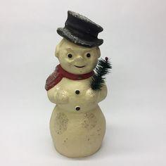 "Jamison Studios Papier Mache 12.5"" Christmas Snowman Figurine 2001    eBay"