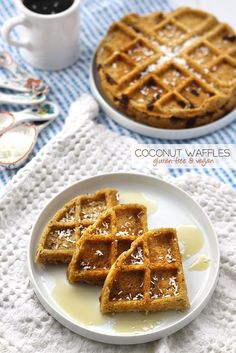 Coconut Waffles - gluten-free and vegan. Made with coconut flour and chia seeds this waffle recipe makes the ultimate healthy breakfast!