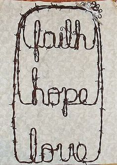 Barbed wire Faith Hope Love religious wreath word wall art rustic decor 21 x Barb Wire Crafts, Metal Crafts, Barbed Wire Decor, Chicken Wire Art, Bed Spring Crafts, Rustic Crafts, Rustic Decor, Horseshoe Crafts, Craft Sale