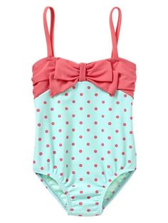 Cute swimsuit,bathing suit with bow and polka dots for babies and kids