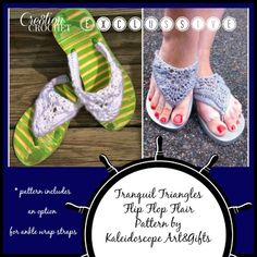 Tranquil Triangle Flip Flop Flair FREE crochet pattern excusively on #cre8tioncrochet designed by #kaleidoscopeartngifts