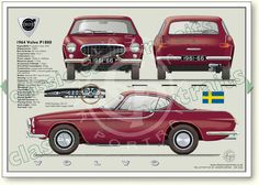Volvo P1800 1961-66 classic car portrait print