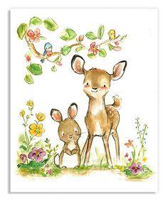 Look what I found on #zulily! Deer Friends Print #zulilyfinds