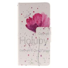 Wallet Style Magnetic Side Flip Stand Soft TPU + PU Leather Case for Sony Xperia M5 - Purple Orchids