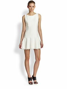 Alice + Olivia Kaya Drop-Waist Dress All White Outfit, White Outfits, Polo Classic, Boat Neck Dress, Little White Dresses, Dresses For Work, Formal Dresses, Drop Waist, Alice Olivia