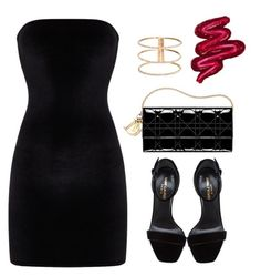 """""""Untitled #131"""" by nelafashion ❤ liked on Polyvore featuring Yves Saint Laurent, GUESS and Obsessive Compulsive Cosmetics"""