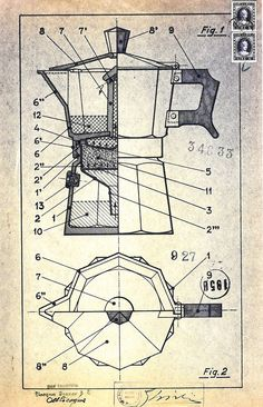 Artwork Credit: Alfonso Bialetti, 1933 (With images) Technical Illustration, Coffee Illustration, Technical Drawing, Moka, Top Photos, Gravure Illustration, Italian Posters, Industrial Design Sketch, Patent Drawing
