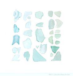 Aquamarine Sea Glass  12 x 12 beachcombing by QuercusDesign, $40.00