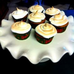 Pumpkin Cupcakes with Toasted Marshmallow Frosting! So great with coffee and a huge hit at work!