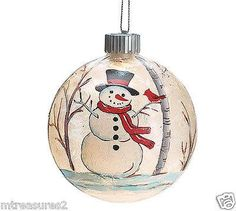 Christmas Holiday Blown Glass Ornament Decorated with Snowman and Lights Up! - Millennium Treasures Gifts