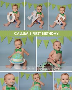 blue and green cake smash session for one year old boy