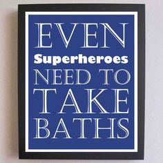 Nursery Art, Superhero Print, Take a Bath, Children Decor, Typography Poster, Nursery wall quotes, Subway Art, 11 x 14 Bathroom Art