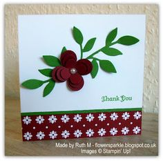 Flower Sparkle: Little Leaves & Floral Fusion Thank You Card