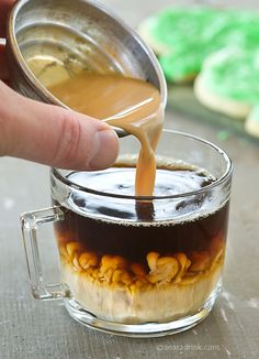 Homemade coffee creamer - 14oz Sweetened Condensed Milk, 1 3/4 Cup Milk or Cream, and whatever flavor.