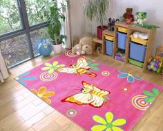 Butterflies rug - bubble gum pink rug with lovely flowers and tinker bell butterflies for young princesses. Girls Rugs, Rug Store, Tinker Bell, Pink Rug, Bubblegum Pink, Bubble Gum, Princesses, Butterflies, Wonderland