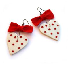 Valentine gift heart earrings valentine heart Red by JPwithLove, $17.00