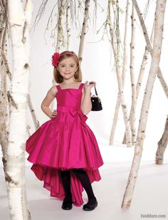 Square Neck Sleeveless High Low Flower Girl Dress with Sash - EveAllure