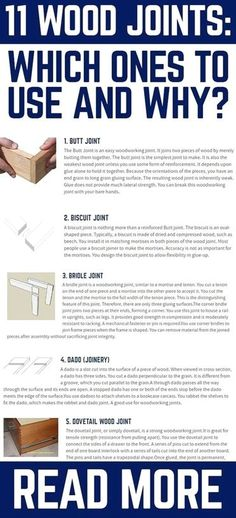 There are various woodworking joints in use. Some are stronger than others are. Let's discuss the more popular joints, so you know which to use for your projects. #WoodworkingProjects