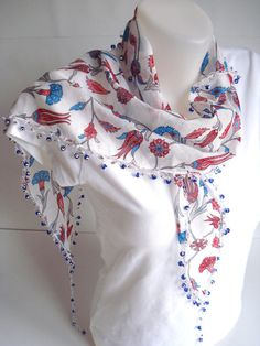 Blue Red Authentic Scarf with Evil eye beads Ottoman by bypasha, $18.00