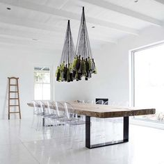 12.) A wine bottle chandelier is perfect for the kitchen.