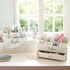Ultimate Beauty Organizers | PBteen  Would be good for cosmetics or jewelry -- keeping within reach. Now only if I could grow adequate countertops!