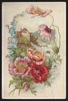 Vintage Cottage Postcard