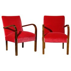 Pair of Swedish Art Deco Moderne Cherry Red Mohair Arm Chairs | From a unique collection of antique and modern armchairs at https://www.1stdibs.com/furniture/seating/armchairs/