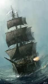 Image result for ship crashing through waves painting