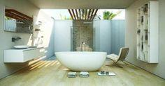 Badezimmer mit Deckenfenster und Freistehende Badewanne von MOMA DESIGN
