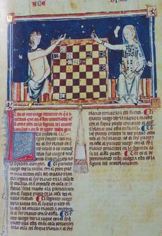 Alfonso X Book of Games. With a very nice little purse, and a woman wearing a sheer veil.